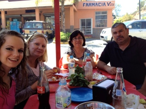 Hannah & Dawn enjoying some tacos with Yolanda & Daniel