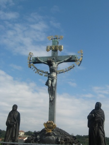Crucifix and Calgary on the Charles Bridge in Prague (Inscribed in Hebrew from Isaiah 6, Holy, Holy Holy is the Lord of Hosts)