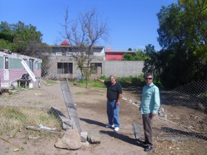 Daniel Nuñez and Ray Call on land where church will be built