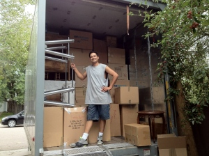 Richie helping us load up the trailer for our move