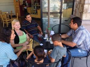 Martha, Dawn and Abraham getting to know Rafael