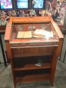 Billy Graham's pulpit that was shipped around the world and used at his evangelistic campaigns