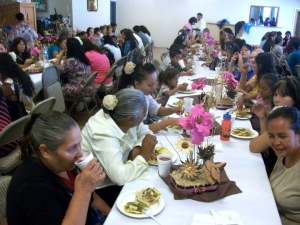 All the women enjoying a meal and fellowship
