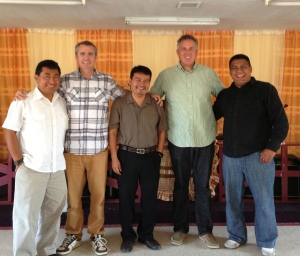 Ray and Dave with some pastors and  friends for the National Church .