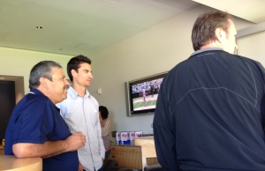 Watching the game with Daniel Nuñez, JD Pearring and some of the other guys