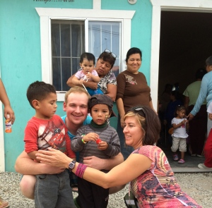 David Diaso Jr. and Jenn English with some of the children in Pípila