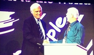 Dr. Paul Taylor MTW's Asia Director greets Dr. Ravi Zacharias before he gives the closing keynote speech