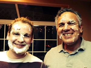 """David & I both celebrate our birthdays in December. The cake got the best of us - """"Mordida"""""""