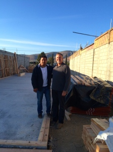 Ivan and Dave at the church site surrounded by all the building materials