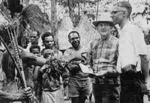 During his 50 years as director-mentor of SIL members around the world, Townsend traveled a great deal. Here we see him enjoying a visit with members of a minoritygroup of Papua New Guinea (1969)