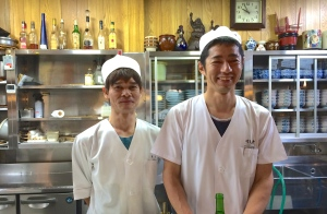 Mie's brother, Hideaki (on the right) at their family run restaurant