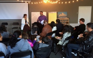 Pastor Jaime with his wife, Valentina sharing his vision for the Hispanic ministry