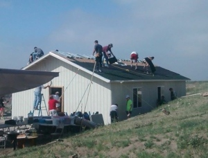 Our group working hard to build the church!