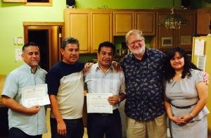 Pastor Jaime Avila, Pastor Mario Perez and Pastor Ivan Casados with Calvin Anderson & Jeinny Escorcia