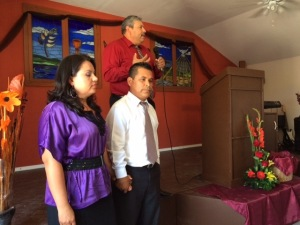 Pastor Gilberto Garcia and his wife, Maribel with Pastor Daniel Nuñez