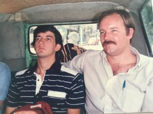 This picture of Ty (on the left) with Dick Elwell was taken in Mexico City on a month long summer missions project in the back of a Volkswagen Van, our main mode of transportation.