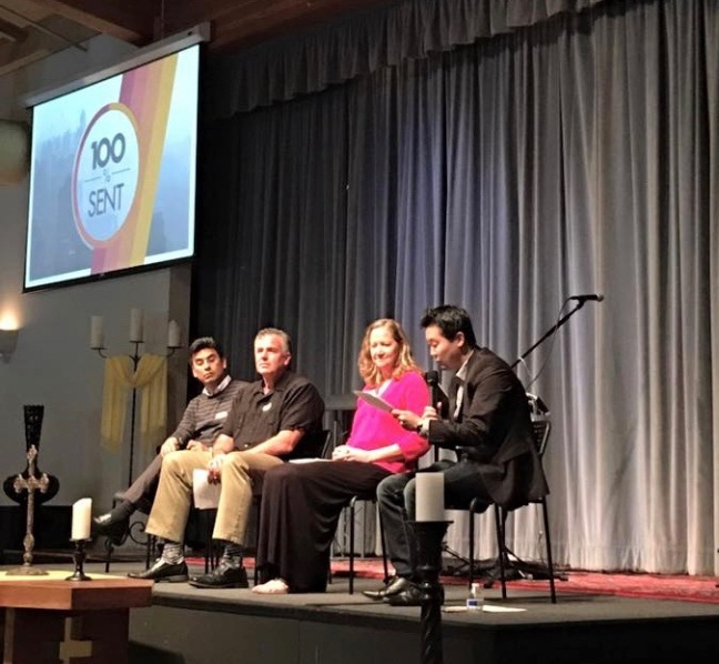 Petri & Dave at Redeemer San Diego's missions conference sharing about the Ensenada project with Sue Harris and pastor Paul Kim