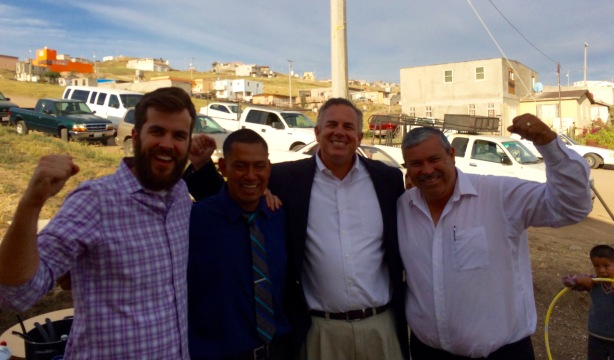 Pastor David Feiser, Pastor Victor Bravo, Dave & Pastor Daniel Nuñez celebrating the opening of Victor's church in Rosarito last year