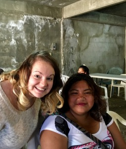Hannah with one of the women from the clinic that she led in prayer