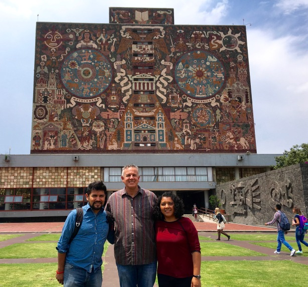 Dave with Barush & Monse in front of the library at UNAM