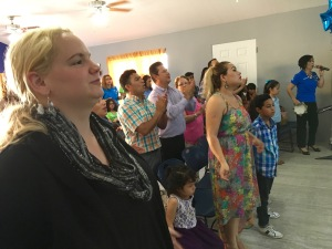 Hannah worshipping at the Vida Abundante Church