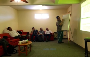 Pastor Jorge Aleman sharing with the group