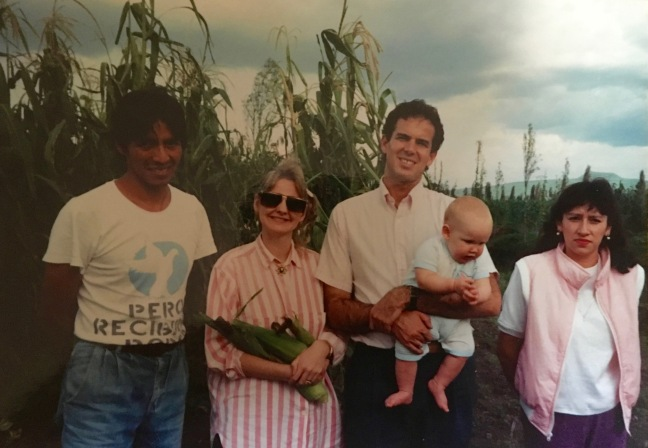 Dave & Dawn with David Jr. in our first few months in Mexico City visiting Angel & Celia Cisneros in Xochimilco