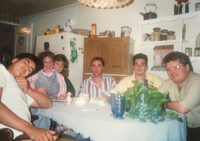 Sinuhe Arechiga, with Dawn, Andrea & Leo Ruggeri, Fernando and Leo's friend. We worked with a lot of young people in those days. Our house was always fall of activity.