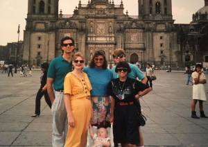 Dave & Dawn with David Jr. and Bruce Thompson and friends from Language school in the Zocalo. Mexico's center - town square