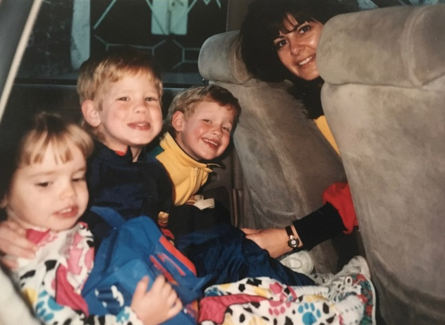Hannah, Jonathan & David going to Kinder with Miss Marilu. She owned and ran the school and often helped us out by taking our children to school.