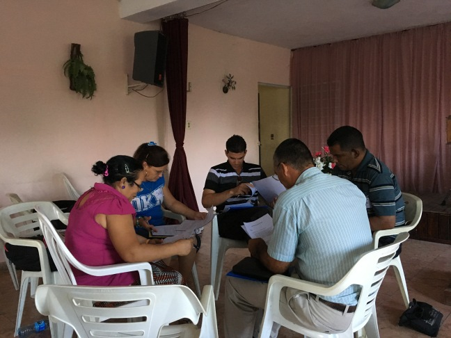 The church planting candidates working on a project during the Discovery Center