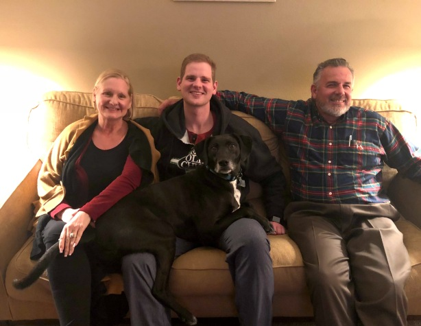 We loved being able to see our son, Jonathan. His dog, Cesar joined us for this photo!