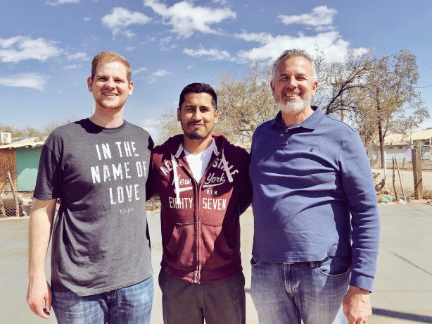Jonathan and Dave with Pastor Mere Godinez at the new church site near Mexicali, Mexico