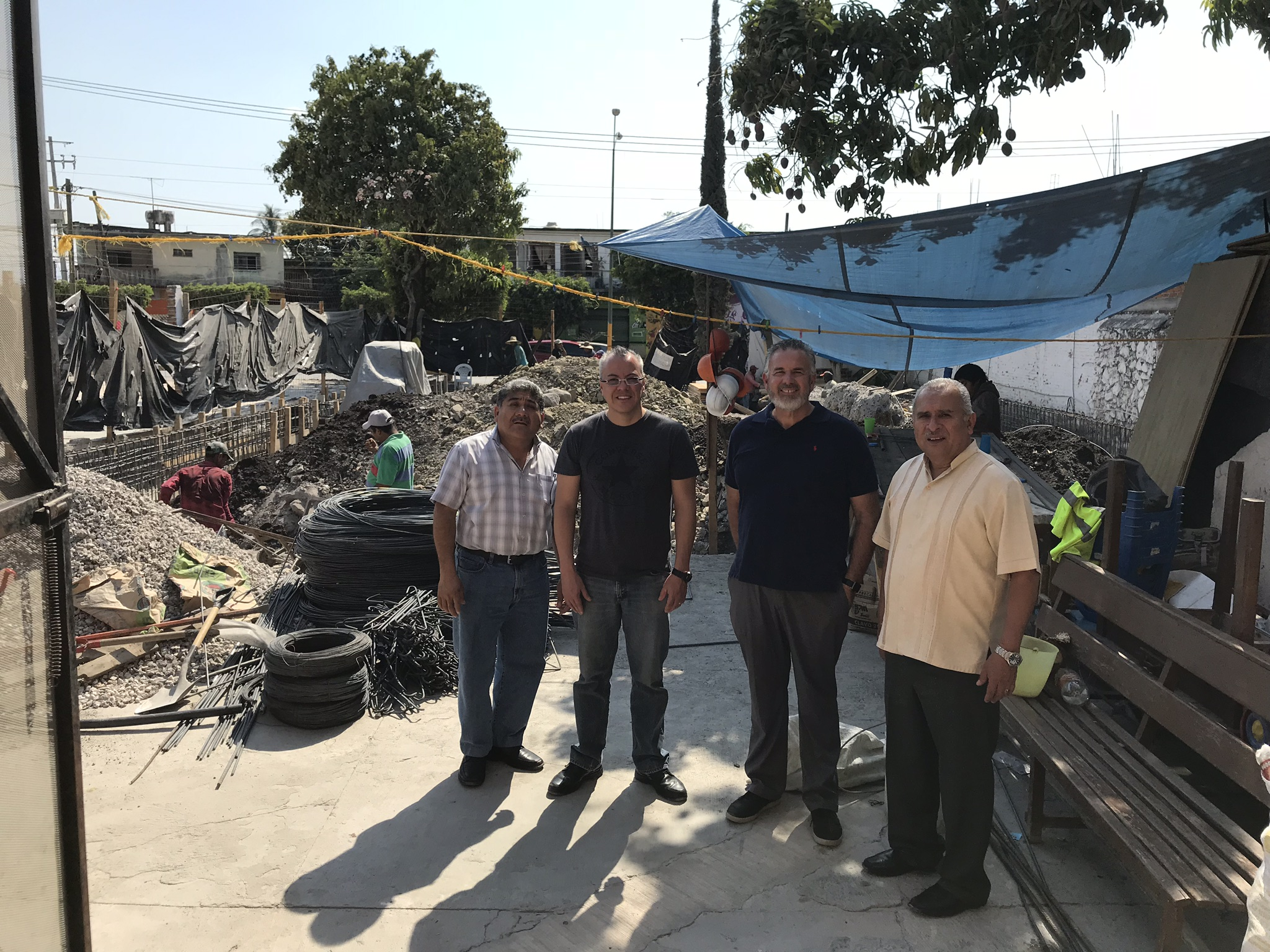 Dave with Pastor Adolfo Arias, Mario Silva and Pastor Amador Lopez in front of the church that is being rebuilt in Jojutla