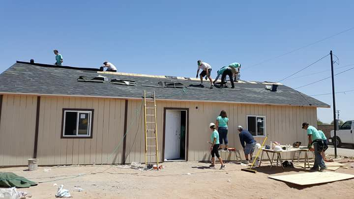 Many participated in building the church on a hot day just outside of Mexicali, Mexico