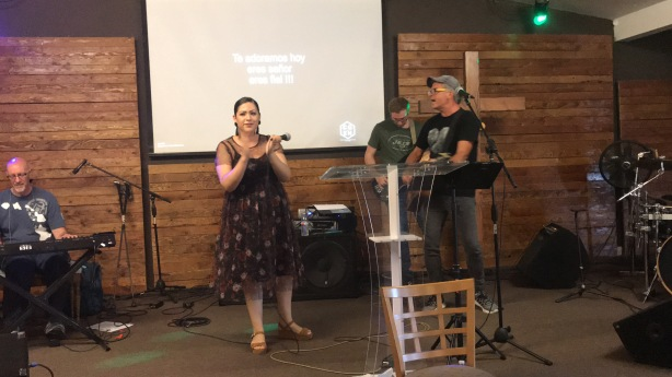 Mark Tedder and Abby Nuñez leading us in worship in Tijuana
