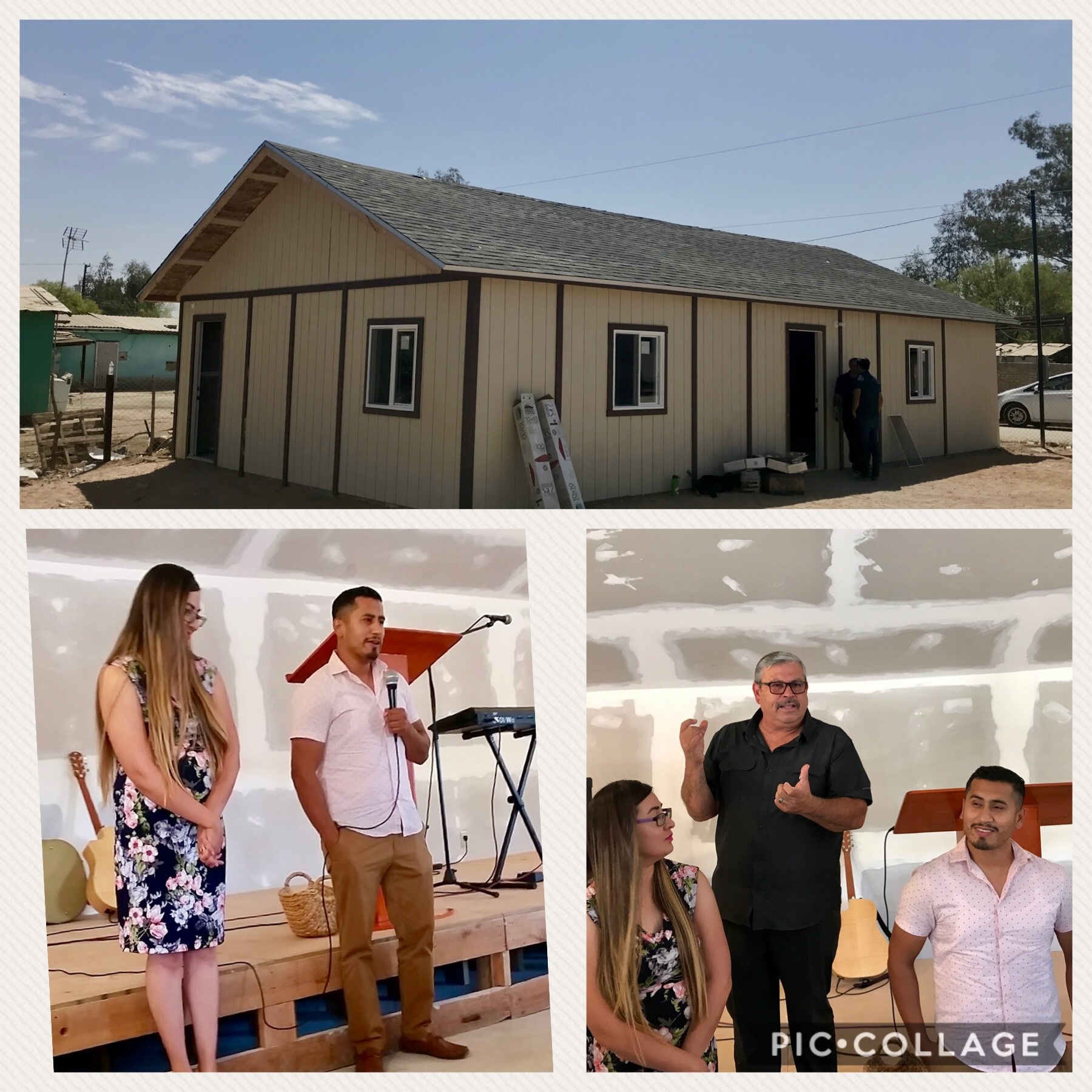 The church in near Mexicali. Pastor Mere & Edna during the inaugural service with Pastor Daniel Nuñez who leads Ministerios Transformación.