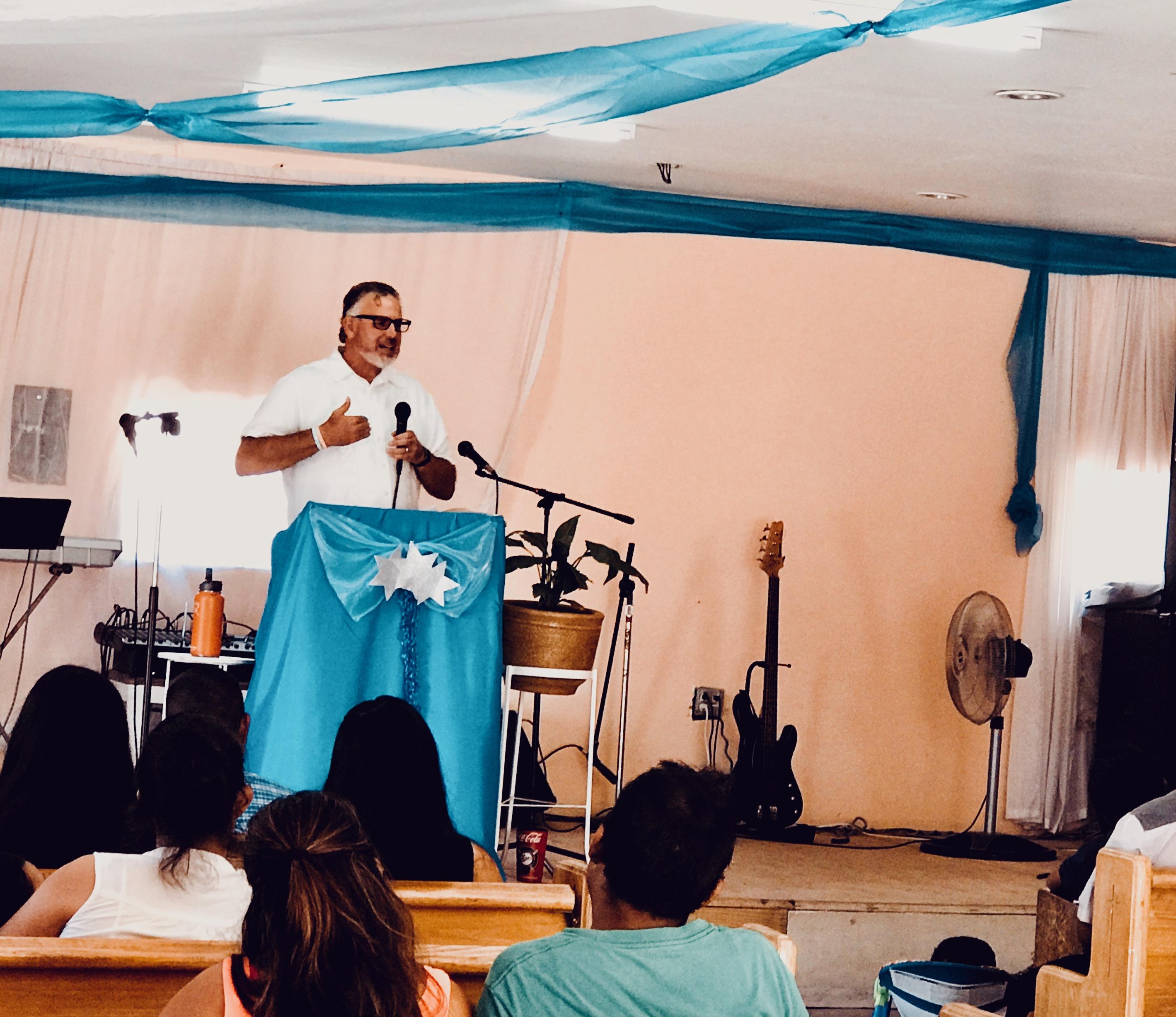 Dave preaching at Monte Sinai Church in Tijuana