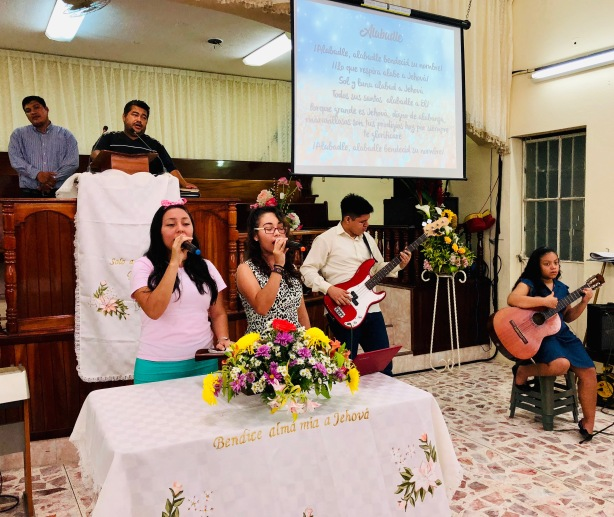 The Youth leading us in worship at the mother church where Luis is pastor